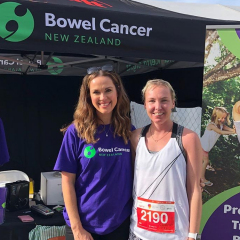 Rebekah Heal, GM with Britt Chamber, runner and bowel cancer supporter