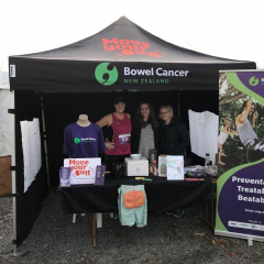 The Bowel Cancer tent, ready and waiting for race day to begin