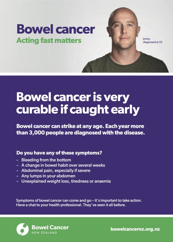 Bowel Cancer Symptoms poster with Jonny
