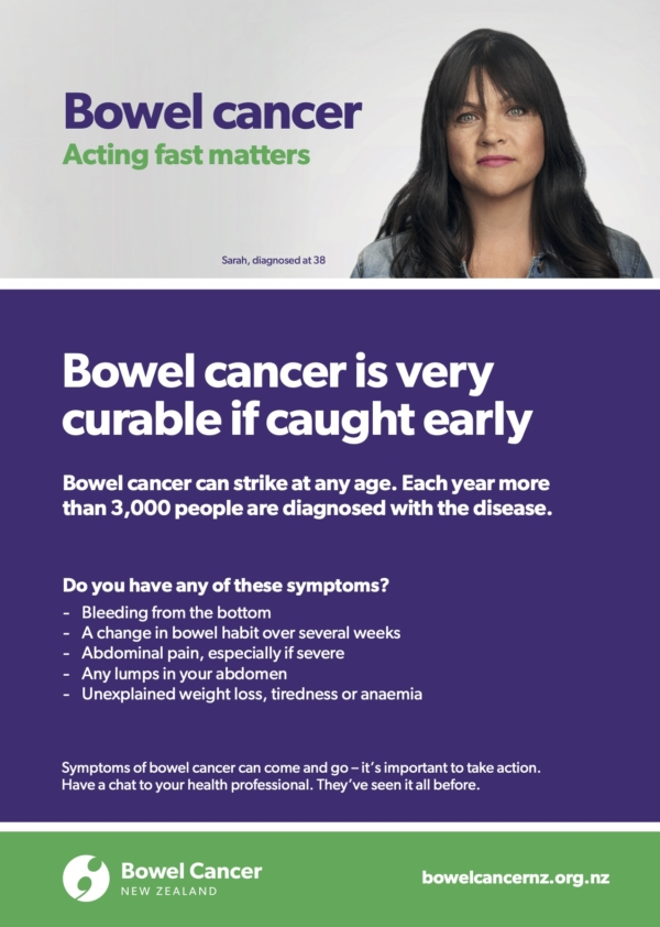 Bowel Cancer Symptoms poster with Sarah