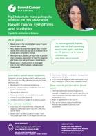 Bowel cancer symptoms and statistics fact sheet